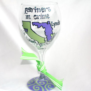 State to State or Country Wine Glass Partners in Crime Chevron Personalized Birthday Anniversary Bride Wedding Best Friend Long Distance
