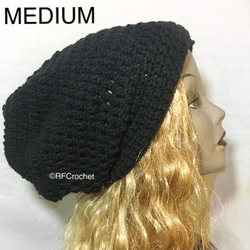 Small to Medium | Black Beanie | Slouchy | SOFT | Dreadlock Hat | Mens | Womens | Short Hair | Locs | Round Roomy Design | Fall