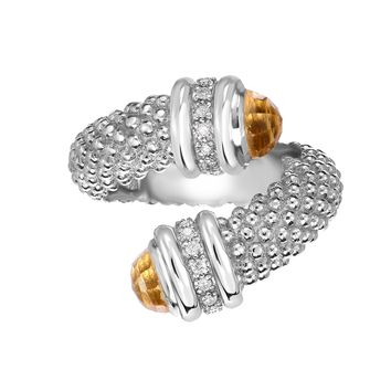 Sterling Silver Citrine And Diamonds Bybass Ring