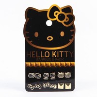 Hello Kitty Earring Set: Black and Gold