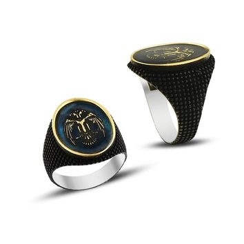 Double headed eagle with enamel sterling silver mens ring