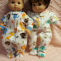 "Twins Baby doll clothes (15 inch) ""Jungle Friends"" Will fit Bitty Baby® Cabbage Patch® boy and/or girl twins sleeper pajamas"