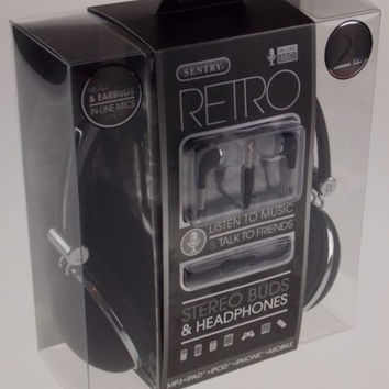 Sentry Retro Stereo Buds & Headphones Black Earbuds Mic In Line HC400 For iPhone
