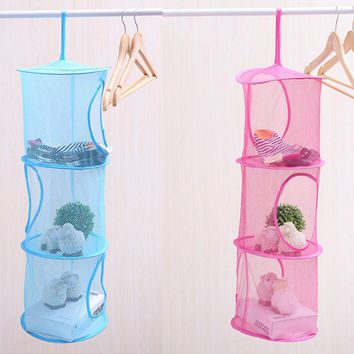 3 Tier Mesh Hanging Storage Pocket Toys Bedroom Door Wall Closet Home Organizer Bags Foldable Nest Basket Bra