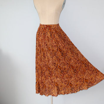 1970s Skirt / Vintage Cotton Gauze Crinkle Broomstick Skirt / Made in India