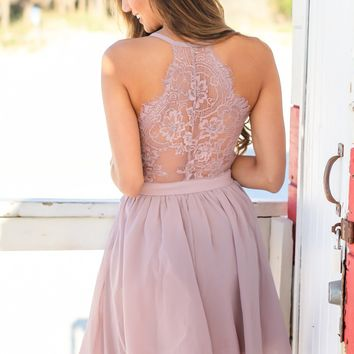 Dusty Lavender Short Dress with Lace Back