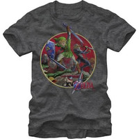 Officially Licensed Nintendo Zelda Ocarina of Time Sword Fight Adult Charcoal T-Shirt