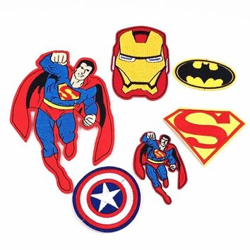 6pcs Bat Man Logo Super Heros Avengers Ironman Super Man Iron on Embroidered Clothes Patches For Clothing Boys Badges Stickers