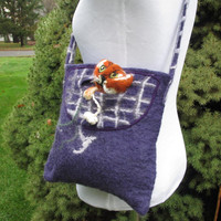 Felted Wool Bag with 3D needle felt cat in Purple, Grey and Ochre. Felt Fantasy Wearable Art Purse. Novelty Felt Tote. Cat Lovers Gift.