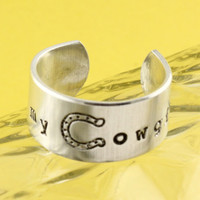 I Heart My Cowgirl Ring - Country Girl Adjustable Ring - Hand Stamped Ring