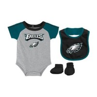 Philadelphia Eagles Infant NFL 3 Piece Creeper Bib Bootie Set