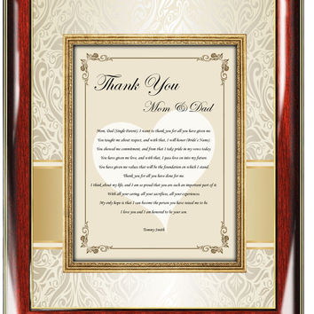 Personalized Parents Wedding Thank You Frame