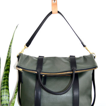 3-in-1 Leather Backpack Convertible Backpack Hunter Green Shoulder Bag Tote Bag Mabel Pack