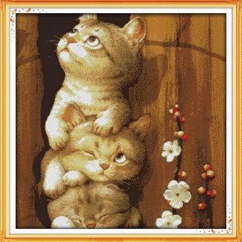 Naughty Cat Animal DMC Cross Stitch Kit 14CT Canvas 11CT Accurate Printed Embroidery DIY Handmade Needle Work Home Decor Set Art