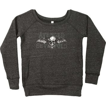 Avenged Sevenfold Women's  AVS Death Bat Jr Crew Sweat Girls Jr Sweatshirt Charcoal