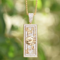 Benjamin $100 Bill Iced Out 14K Gold Finish Charm Chain