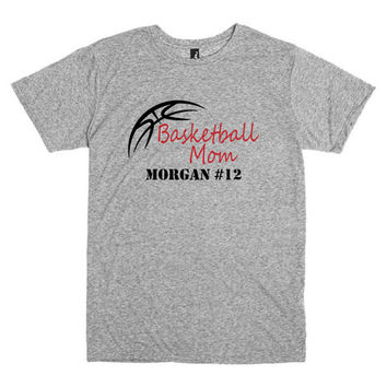 Basketball mom shirt.  Personalized with player's name and number.  Basketball dad shirt.  Basketball outline.