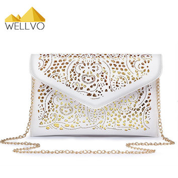 Women Envelope Clutch Lace Handbag Fashion Hollow Out Purse Party Shoulder Bag Crossbody Chain Bags bolsa mujer White XA154C