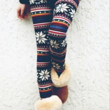 High Elastic Print Pants Leggings B0014409