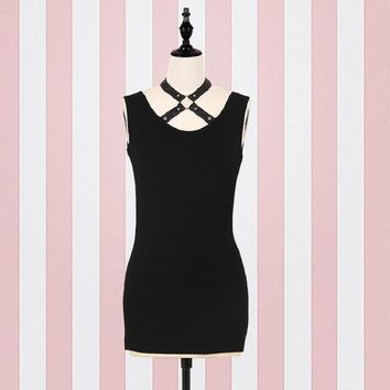 Gothic Women Black Short Mini Dress Sexy Ring Splicing Belt Party Sleeveless Dress