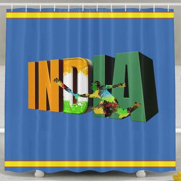India Flag Baseball Shower Curtain