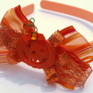 pumpkin headband with bow- orange hair accessories- halloween