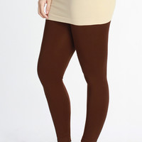 Curvy| Everyday Basic Ankle Legging - Brown