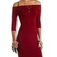 Fold-Over Off-The-Shoulder Dress by Charlotte Russe - Oxblood