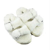 Fluffy Buckle Slides