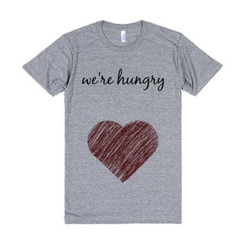 We're Hungry Pregnant Shirt Cursive Big Heart