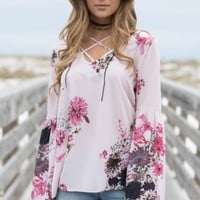 Caribbean Way Rose Print Blouse