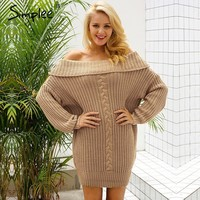 One shoulder sexy winter dress women Knitted loose oversized sweater dress Autumn new casual pullovers dress