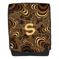 Cool brown stripped fractal. Monogram. Backpack