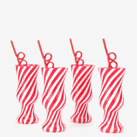 Krazy Straw Candy Cane Cup - Set Of 4