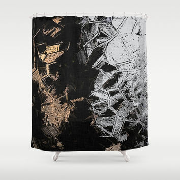 Gold and Silver Crystals Shower Curtain by hmdesignspl