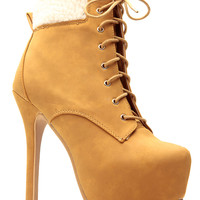 Tan Faux Nubuck Fleece Platform Lace Up Booties