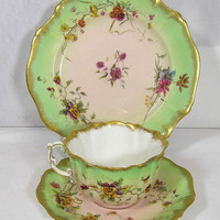 Art Deco Fine bone china Victorian 1889 Pastel Pink and Green Tea Set of Tea Cup, Saucer, Side Plate