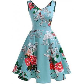 """Lucy"" Vintage 1950's Inspired Rockabilly Cherry Blossom Print Dress"