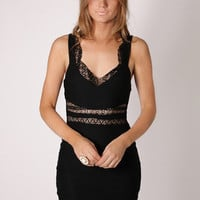 Esther Boutique - gold rush black cocktail- lace strap detail