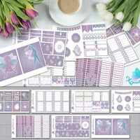 Pastel Purple Fairy Art Weekly Planner Sticker Kit/ Erin Condren Planner Accessories/ ECLP Whimsical Organizer Sticker Sheet Set