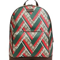 Wiberlux Gucci Women's Chevron Pattern Real Leather Backpack