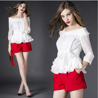 White Off-Shoulder Ruffled Shirt With Red Shorts