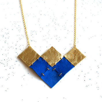 Handmade leather geometric squares necklace in gold and electric blue / N13
