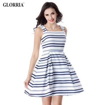 Women White and Blue Striped Square Collar Tank Draped Dress Summer Casual Fashion Cute Party Fit and Flare Dresses