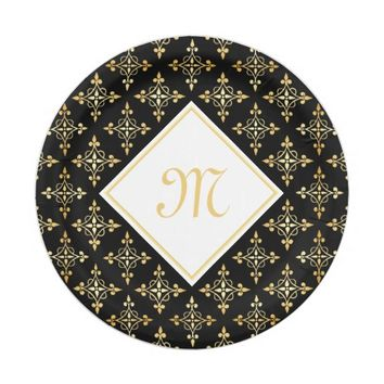 Luxury Monogram Black and Gold Quatre Floral 7 Inch Paper Plate