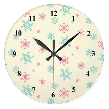 Pink And Blue Snowflake Pattern Christmas Large Clock