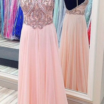 Custom Made A Line Pink Backless Prom Dresses, Formal Dresses, Pink Backless Bridesmaid Dresses