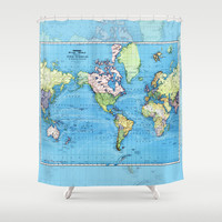 World Map Shower Curtain - Mercator, historical map, colorful, vintage map - Blue, Home Decor - Bathroom - travel, blue, green vibrant, kids