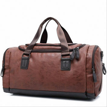 PU Leather Travel Bag Men Big Tote Vintage Large Capacity Handbags Business Luggage Man's Bags travel duffle LI-1695