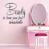 Wall Decals Vinyl Decal Sticker Wording Family Quote Beauty Is How You Feel Inside Bedroom Decor Living Room Beauty Salon Home Interior Design Kg894